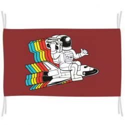 Прапор Astronaut on a rocket with a tape recorder