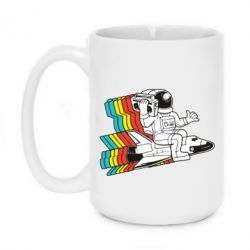 Кружка 420ml Astronaut on a rocket with a tape recorder