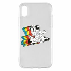 Чохол для iPhone X/Xs Astronaut on a rocket with a tape recorder