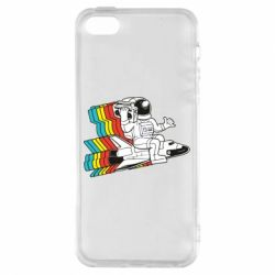 Чохол для iphone 5/5S/SE Astronaut on a rocket with a tape recorder