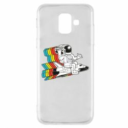 Чохол для Samsung A6 2018 Astronaut on a rocket with a tape recorder