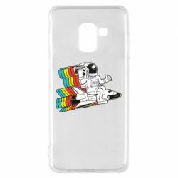 Чохол для Samsung A8 2018 Astronaut on a rocket with a tape recorder