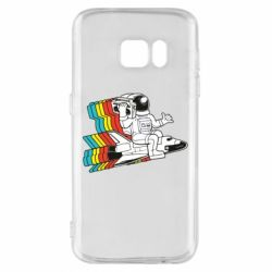 Чохол для Samsung S7 Astronaut on a rocket with a tape recorder