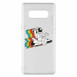 Чохол для Samsung Note 8 Astronaut on a rocket with a tape recorder