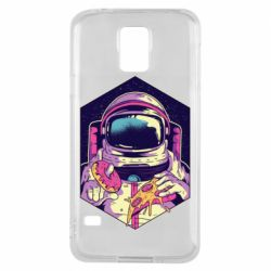 Чехол для Samsung S5 Astronaut with donut and pizza