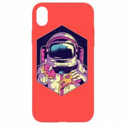 Чехол для iPhone XR Astronaut with donut and pizza