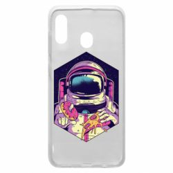 Чехол для Samsung A20 Astronaut with donut and pizza