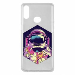 Чехол для Samsung A10s Astronaut with donut and pizza