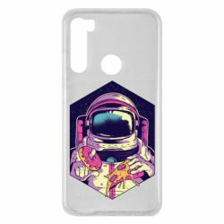 Чехол для Xiaomi Redmi Note 8 Astronaut with donut and pizza