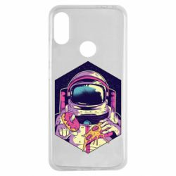 Чехол для Xiaomi Redmi Note 7 Astronaut with donut and pizza