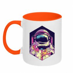 Кружка двухцветная 320ml Astronaut with donut and pizza