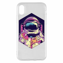 Чехол для iPhone X/Xs Astronaut with donut and pizza