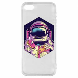 Чехол для iPhone5/5S/SE Astronaut with donut and pizza