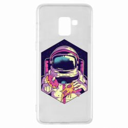 Чехол для Samsung A8+ 2018 Astronaut with donut and pizza