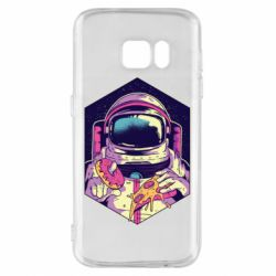 Чехол для Samsung S7 Astronaut with donut and pizza
