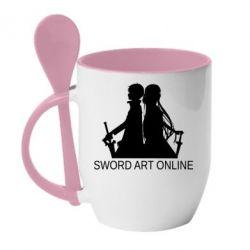 Кружка з керамічною ложкою Asuna and Kirito