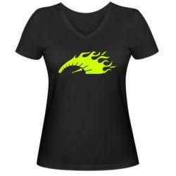 Женская футболка с V-образным вырезом At speed