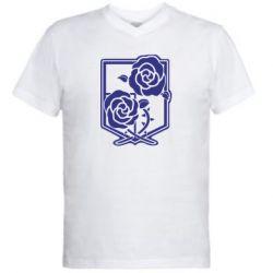 Чоловіча футболка з V-подібним вирізом Атака на титанів, емблема