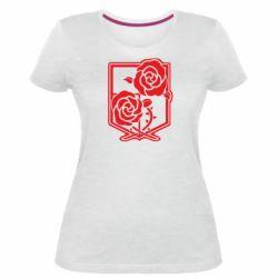 Жіноча стрейчева футболка Атака на титанів, емблема