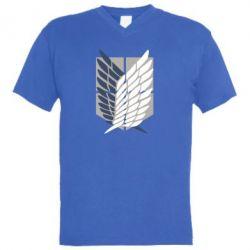 Чоловіча футболка з V-подібним вирізом Атака титанів