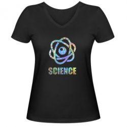 Жіноча футболка з V-подібним вирізом Atom science