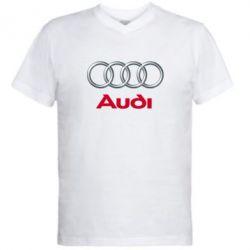 Мужская футболка  с V-образным вырезом Audi 3D Logo - FatLine