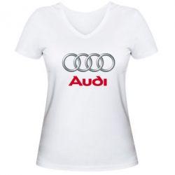 Женская футболка с V-образным вырезом Audi 3D Logo - FatLine
