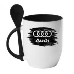 Кружка з керамічною ложкою Ауді арт, Audi art