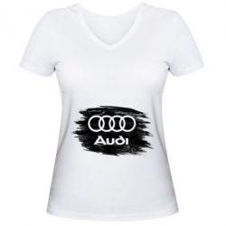 Жіноча футболка з V-подібним вирізом Ауді арт, Audi art