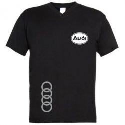Мужская футболка  с V-образным вырезом Audi Logo - FatLine