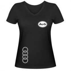 Женская футболка с V-образным вырезом Audi Logo