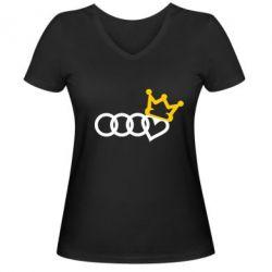 Жіноча футболка з V-подібним вирізом Audi queen