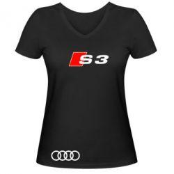 Женская футболка с V-образным вырезом Audi S3 - FatLine