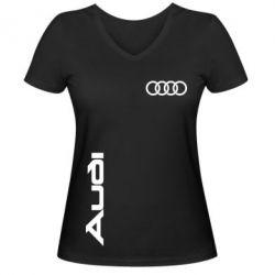 Женская футболка с V-образным вырезом Audi Sport - FatLine