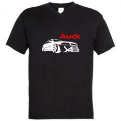 Мужская футболка  с V-образным вырезом Audi Turbo - FatLine
