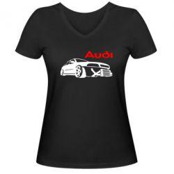 Женская футболка с V-образным вырезом Audi Turbo