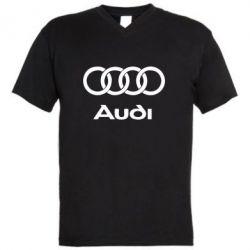 Мужская футболка  с V-образным вырезом Audi - FatLine