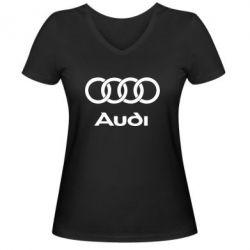 Жіноча футболка з V-подібним вирізом Audi - FatLine