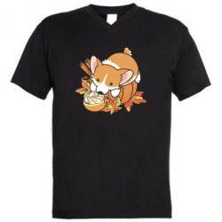 Чоловіча футболка з V-подібним вирізом Autumn Corgi