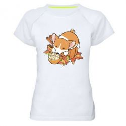 Жіноча спортивна футболка Autumn Corgi
