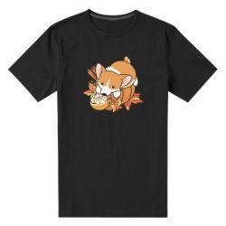 Чоловіча стрейчева футболка Autumn Corgi