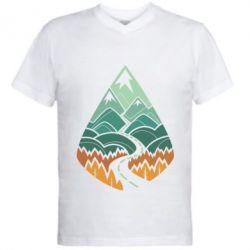 Мужская футболка  с V-образным вырезом Autumn in the mountains