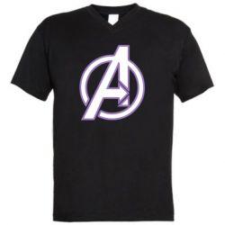 Мужская футболка  с V-образным вырезом Avengers and simple logo