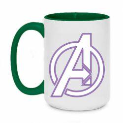 Кружка двухцветная 420ml Avengers and simple logo