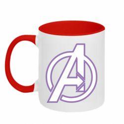Кружка двухцветная 320ml Avengers and simple logo