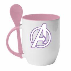 Кружка с керамической ложкой Avengers and simple logo