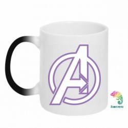 Кружка-хамелеон Avengers and simple logo