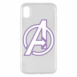 Чехол для iPhone X/Xs Avengers and simple logo