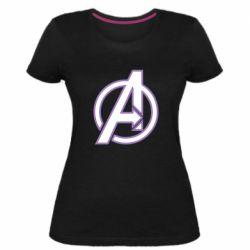 Женская стрейчевая футболка Avengers and simple logo