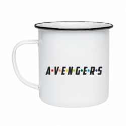 Кружка эмалированная Avengers in the style of the logo of friends